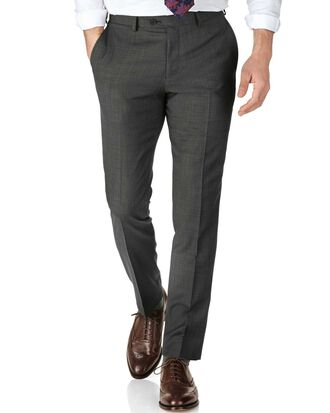 Grey slim fit sharkskin travel suit trousers