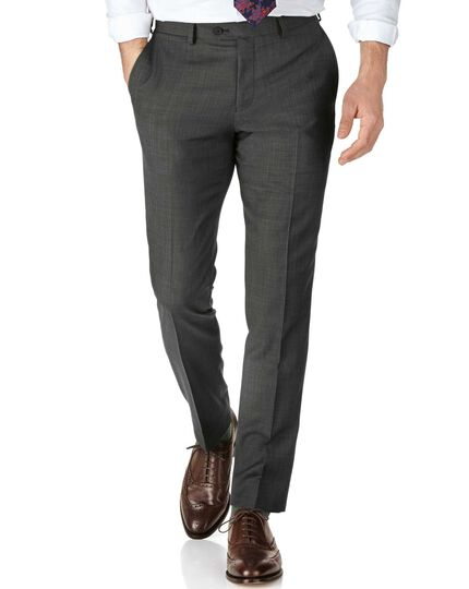 Grey slim fit sharkskin travel suit trousers