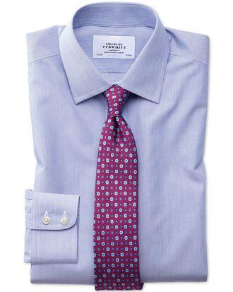 Slim fit non-iron hairline stripe royal blue shirt