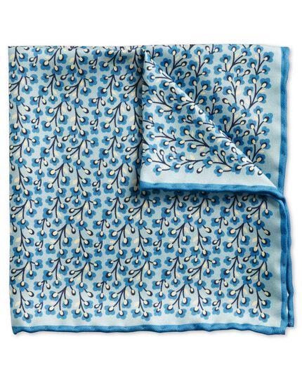 Sky blue classic floral pocket square