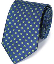 Royal and green silk printed classic tie