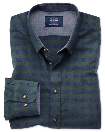 Slim fit button-down soft cotton green and blue check shirt
