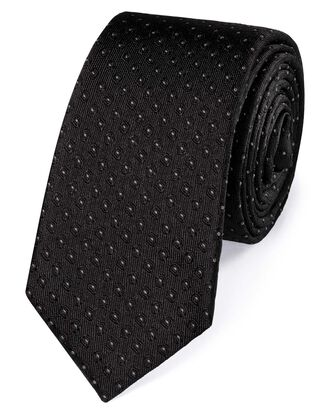 Black and white silk slim diamond neat classic tie