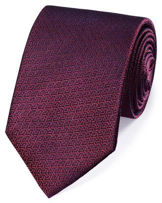 Cravate classique lie-de-vin partiellement unie en soie à motif flèche