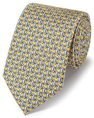 Light yellow classic seahorse printed tie