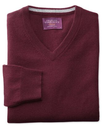 Wine cashmere v-neck jumper