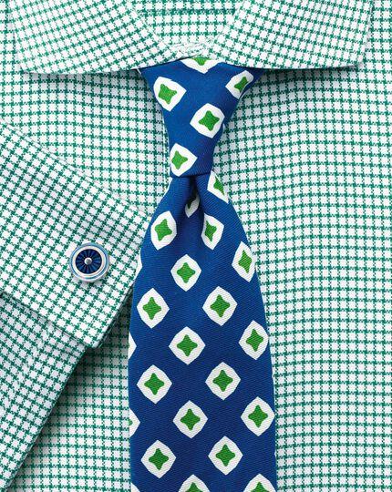 Extra slim fit non-iron cutaway collar basketweave check  green shirt