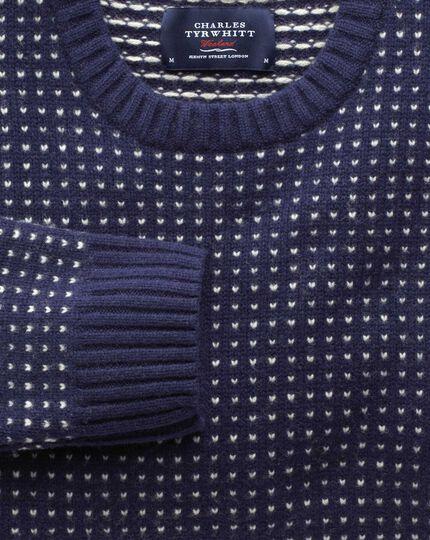 Pullover mit Rundhalsausschnitt in Marineblau mit Pfauenaugenmuster