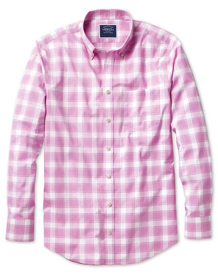 Classic fit button-down non-iron poplin pink and white check shirt