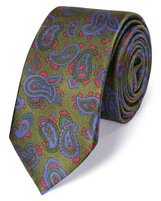 Olive silk slim printed paisley classic tie
