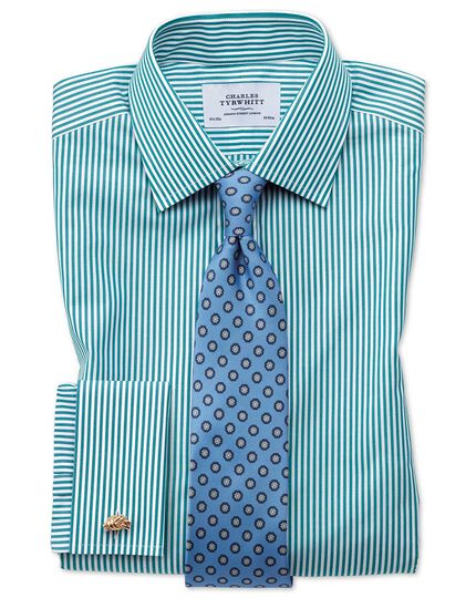 Classic Fit Hemd in Grün mit Bengal-Streifen