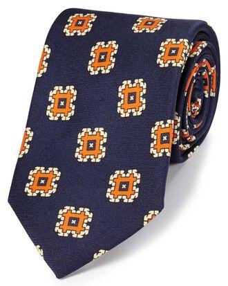 Navy and orange silk medallion print English luxury tie
