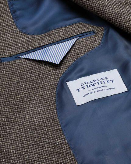 Classic fit brown semi-plain cotton flannel jacket