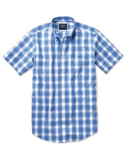 Chemise bleue et blanche en popeline coupe droite à carreaux, manches courtes et col boutonné sans repassage