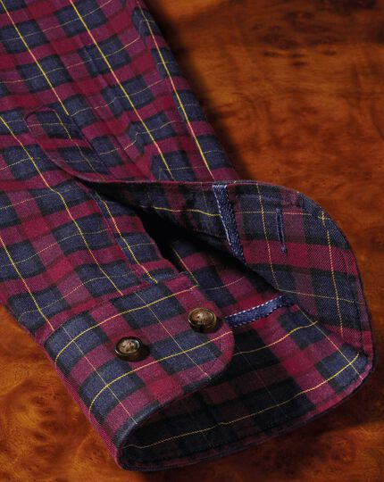Classic fit heather tartan burgundy and navy blue check shirt