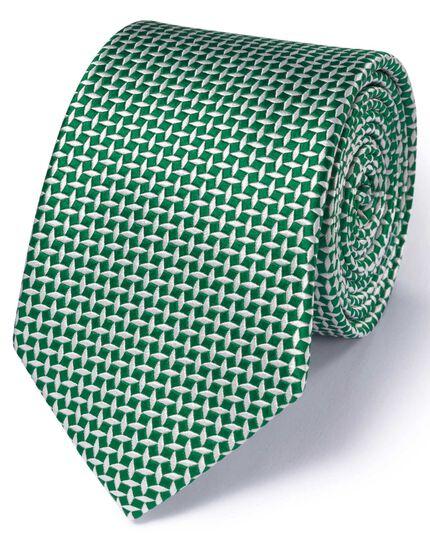 Green silk classic diamond lattice tie
