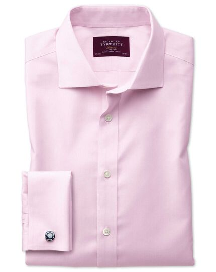 Extra slim fit semi-cutaway non-iron luxury hairline stripe pink shirt
