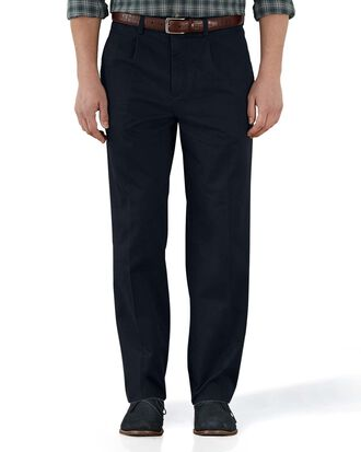 Navy classic fit single pleat weekend chinos