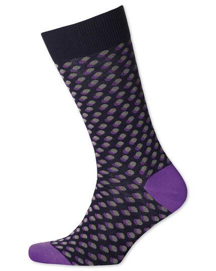 Navy shadow spot socks