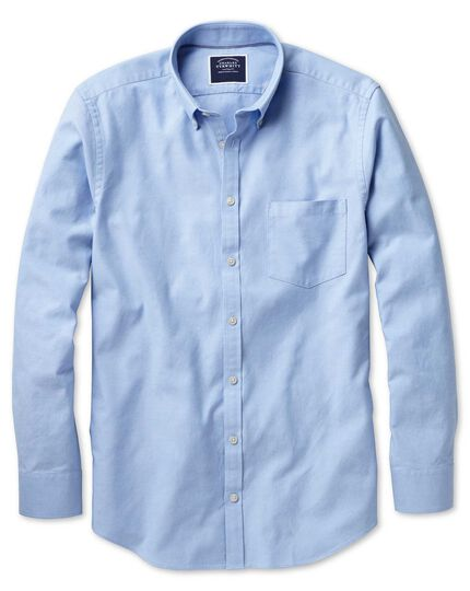 Classic fit button-down washed Oxford plain sky blue shirt
