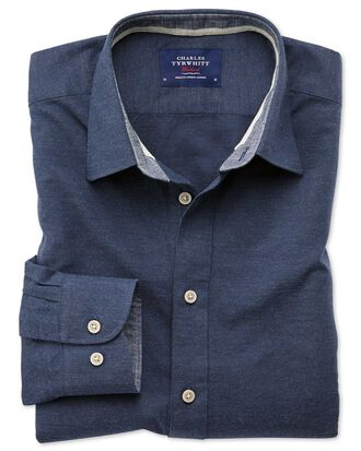 Classic fit popover navy blue shirt