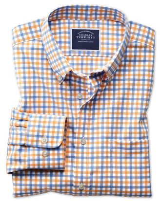 Slim fit button-down non-iron twill yellow and sky blue gingham shirt