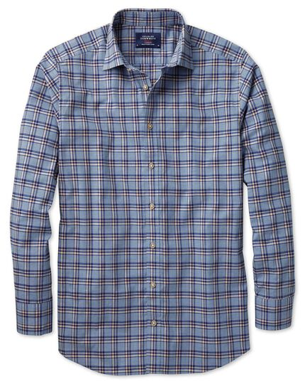 Extra slim fit blue and navy check heather shirt