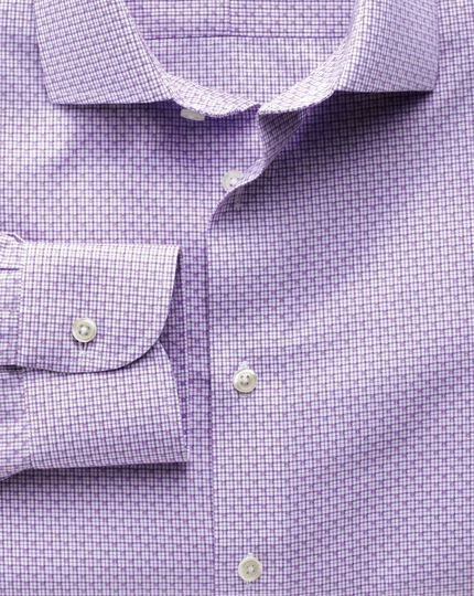 Extra slim fit semi-spread collar non-iron business casual grid check lilac shirt
