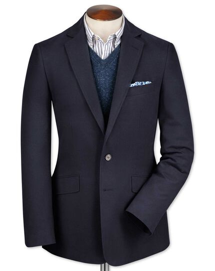 Slim fit navy cotton flannel jacket