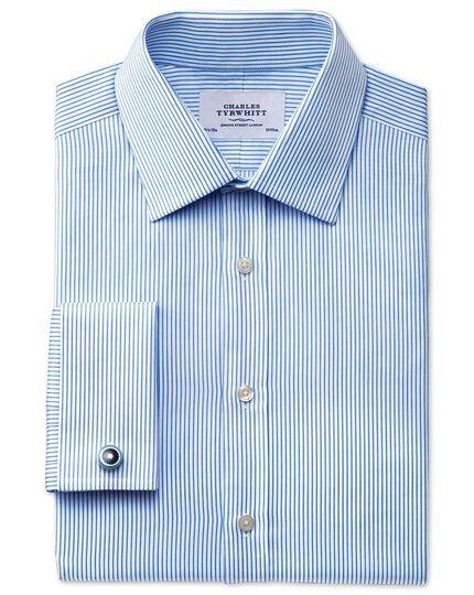 Extra slim fit raised stripe sky blue shirt