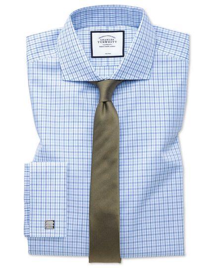 Extra slim fit non-iron poplin blue and sky blue shirt