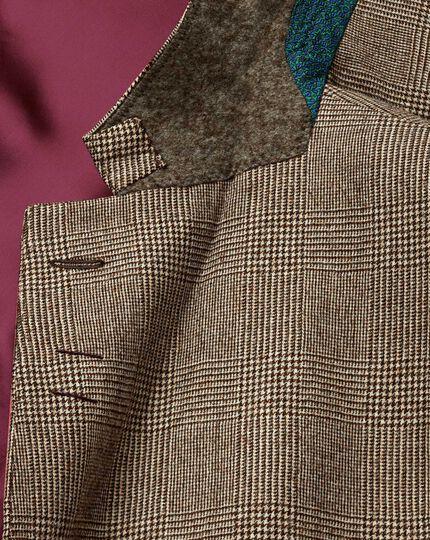 Veste de costume de luxe brun clair slim fit à carreaux en sergé britannique