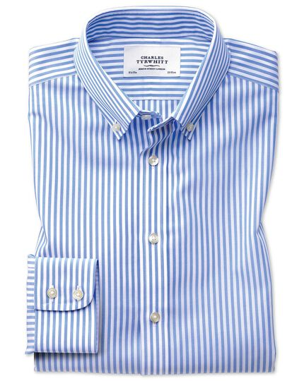 Classic fit button-down non-iron sky blue stripe shirt