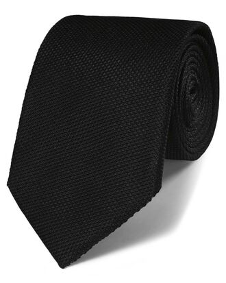 Cravate classique noire en soie