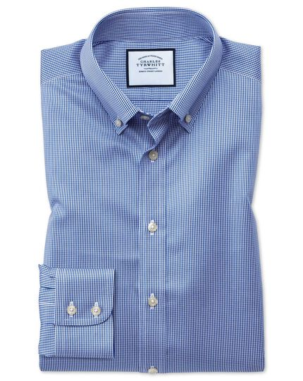 Chemise bleu roi pied-de-poule en twill slim fit à col boutonné sans repassage
