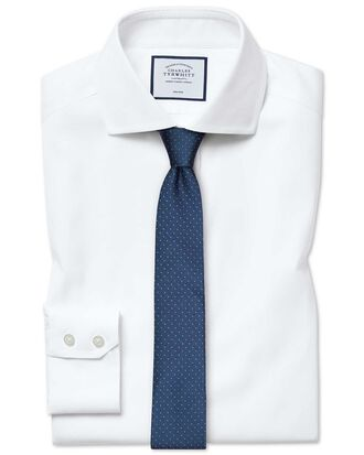 Slim fit cutaway non-iron cotton stretch Oxford white shirt