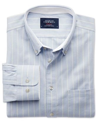 Chemise bleu ciel en oxford délavé extra slim fit à rayures