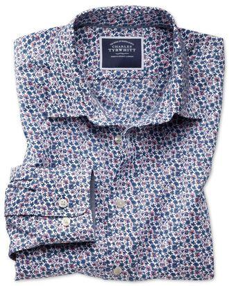 Slim fit non-iron poplin pink multi floral print shirt