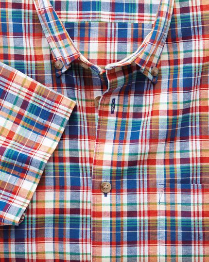 Classic fit short sleeve orange and blue check shirt