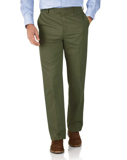 Green classic fit flat front non-iron chinos