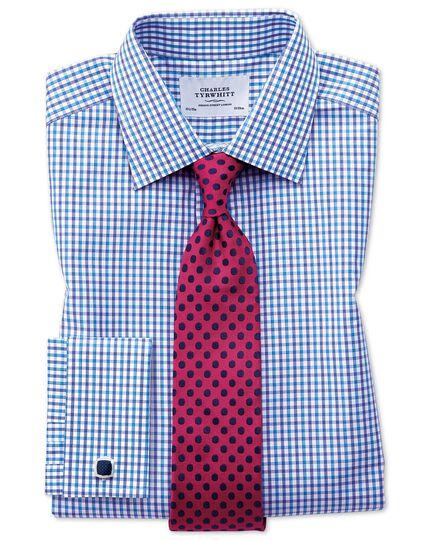 Slim fit two colour check blue shirt
