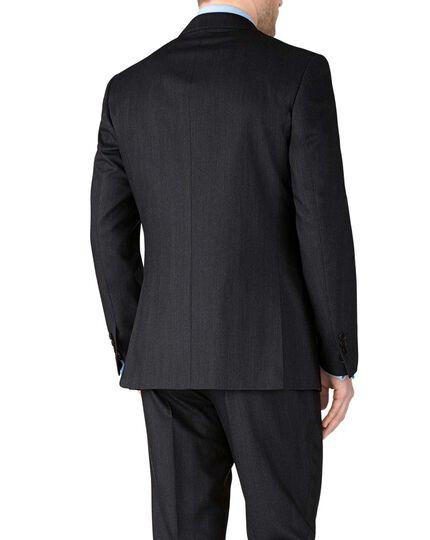 Charcoal slim fit herringbone business jacket