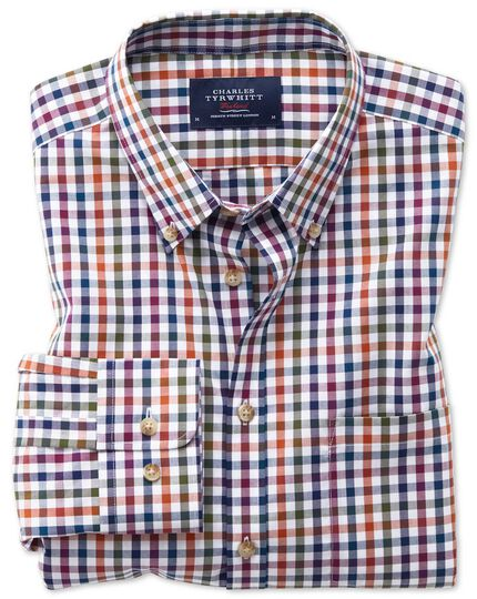 Classic fit button-down non-iron poplin berry multi gingham shirt