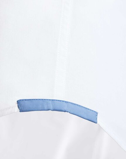 Extra slim fit semi-cutaway collar business casual white shirt
