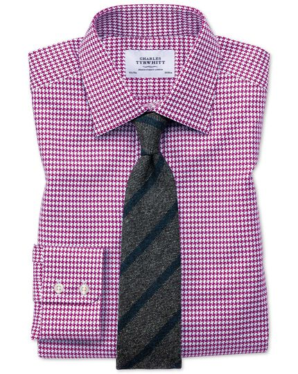 Slim fit large puppytooth berry shirt