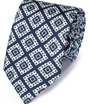 Luxuriöse englische Seidenkrawatte in Marineblau und Weiß mit Gitter-Print