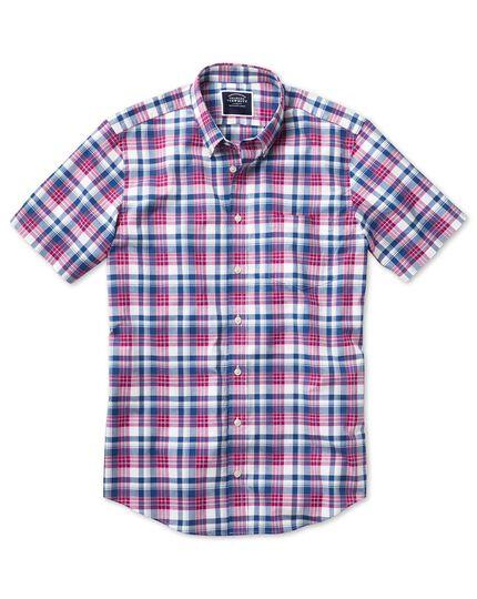 Slim fit poplin short sleeve pink and navy  poplin shirt