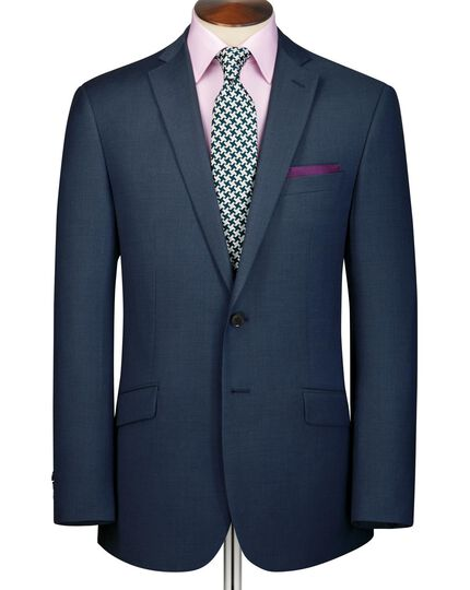Ink blue slim fit sharkskin business suit jacket