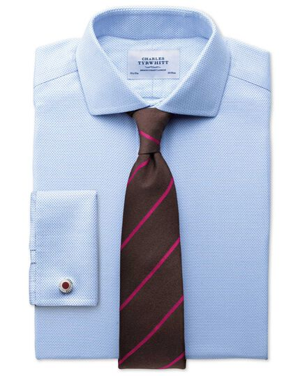 Slim fit spread collar non-iron textured herringbone sky blue shirt