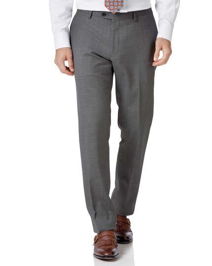 Light grey slim fit sharkskin travel suit pants